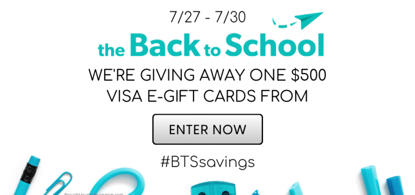 To help promote their Back to School Buying Guide, TheBacktoSchool.com (a Savings.com site) is giving away a $500 Visa gift card!